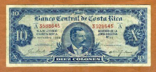 Costa Rica, 10 Colones, 1959, P-221c, F > Scarce