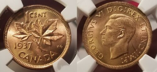 1937 1C Canada Small Cent NGC MS 65 Red - Exceptional !