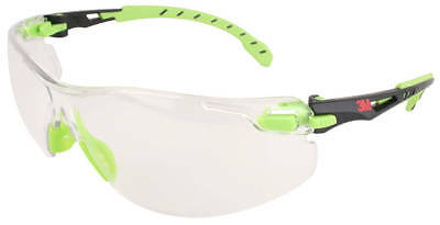3m Solus Safety Glasses With Green Temples And Clear Anti-fog Lens Ansi Z87