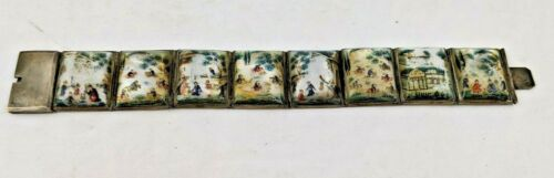 Antique Hand Painted Mother of Pearl 8 Panel Persian Story Bracelet for repair