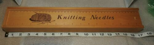 Vintage Wooden Knitting Needle box with sliding ruler cover