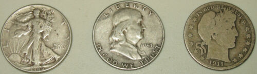 3 Silver Half Dollars