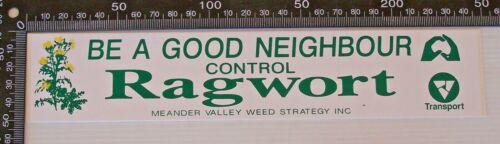 VINTAGE MEANDER VALLEY WEED STRATEGY INC CONTROL RAGWORT PROMO BUMPER STICKER