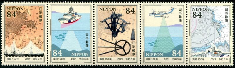 TangStamps:2021 Japan 150th Anniv. Nautical Charts Strip of 5 Different (1)