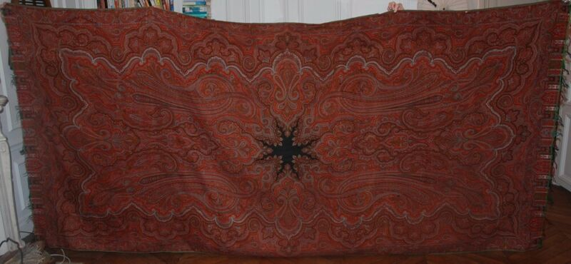 """HUGE ANTIQUE PAISLEY SHAWL CLOTH c.1850 ~ LYON FRANCE WOOL TAPESTRY ~ 162"""" x 60"""""""
