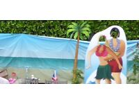 Garden Beach Backdrop, Palm Tree and Seaside Photo Prop.