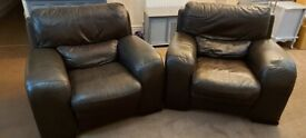 Very comfortable Leather Armchairs x 2