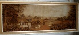 Vintage wall rug carpet picture landscape 6' including wood frame, collect from Dumfries.