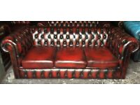 Oxblood leather 3 seater Chesterfield sofa