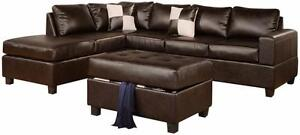 FREE DELIVERY in Ottawa! Leather Sectional Sofa with Reversible Chaise! Black, Cream, and Espresso In Stock! BRAND NEW!