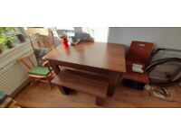 A walnut veneer table + bench.