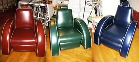 ORIGINAL1998 RARE UNIQUE 'BEETLE' RECLINER CLUB CHAIRS - EXCLNT COND. HOME OR OFFICE