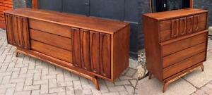 REFINISHED Mid Century Modern Walnut Credenza Dresser 9 Drawers and 5 Drawers Tallboy