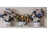 set of plant pots with flowers
