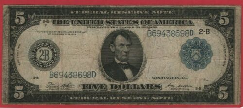 1914 $5 Federal Reserve Note Large Currency  - Five Dollars 2-B New York