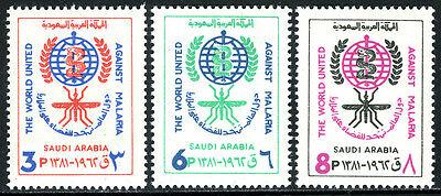 Saudi Arabia 252-254, MNH. WHO drive to eradicate malaria. Emblem, 1962