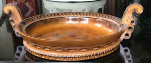"""BEAUTIFUL ANTIQUE SCANDINAVIAN Swedish CARVED 11"""" Double Handled Bowl"""