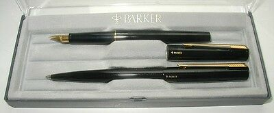 "PARKER "" 15 ""  FOUNTAIN and BALLPEN SET in  BLACK LAQUE , in BOX ! ! UK Made !"