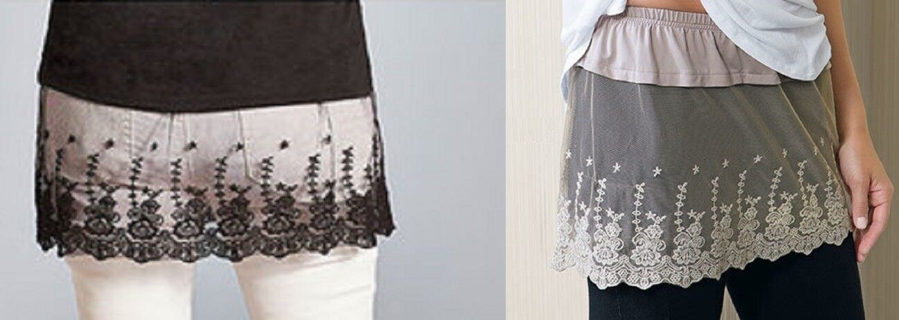 Lace Shirt Extender Easily Slips on with Elasticized Waist Extra Coverage Floral Clothing, Shoes & Accessories