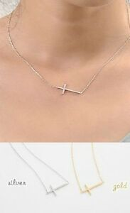 NEW-Hot-RARE-Horizontal-Sideways-Gold-Cross-Celebrity-Pendant-Necklace