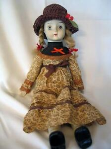 "18"" Porcelain Doll - Blonde Hair; Brown Paisley Dress; Straw Hat"
