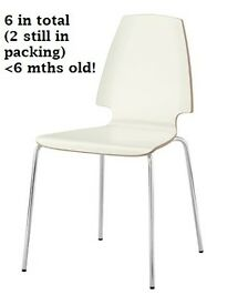 Ikea Vilmar Dining Chairs white/chrome (6), less than 6 months old unmarked/as new