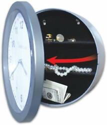 Trademark Tools Silver Wall Clock with Hidden Safe, 10-Inch by 10-Inch