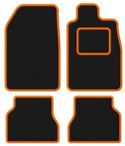 Citroen-C2-03-Velour-Black-Orange-Trim-Car-mat-set