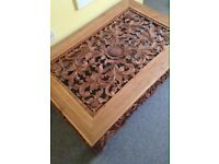Coffee table carved wood