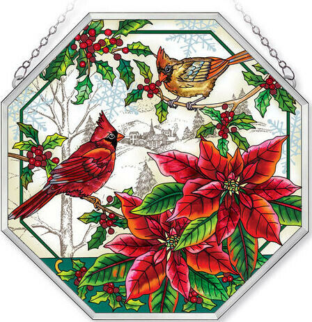 Amia CRIMSON CHRISTMAS Cardinal Poinsettia Painted Glass Octagon Suncatcher 15in
