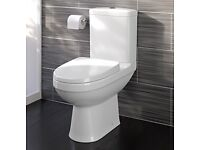 NEW Modern White Close Coupled Toilet with Cistern