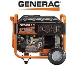 USED* GENERAC 7500W GENERATOR 5978 GP7500E 191653502 ELECTRIC START GAS POWERED PORTABLE
