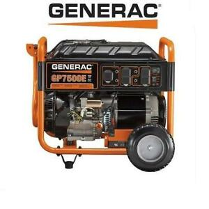 USED* GENERAC 7500W GENERATOR 5978 GP7500E 191653502 ELECTRIC START GAS POWERED PORTABLE