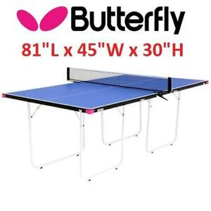 """NEW JUNIOR TABLE TENNIS TABLE TR07-B 243072757 BUTTERFLY PING PONG L81""""xW45""""xH30"""" STATIONARY BLUE"""