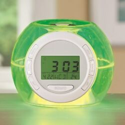 Alarm Clock w/ 7 Color Changing Led Nature Sounds, Temperature, Date and Time