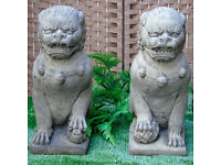 Stone Foo Lions in Reconstituted Limestone - Pair