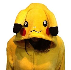 Pokemon Pikachu Zip-up One Piece Hooded Suit - Youth L/XL