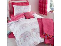 Dunelm pink elephant curtains and single bedding