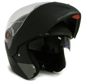 MATTE-BLACK-MODULAR-FLIP-UP-DUAL-VISOR-SUN-SHIELD-MOTORCYCLE-HELMET-sz-S-M-L-XL