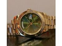 Rolex Day Date Presidential Gold Green + Box, Papers