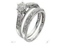 9ct White Gold 1/4 Carat Diamond Bridal Set, size K 1/2, used in great condition