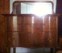 Antique Oak Hutch / Beveled Mirror, Brass Handles / Early 1900's
