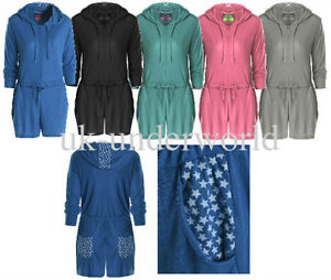Adults Womens Ladies Hooded Short Onezee Jumpsuit All In One Playsuit