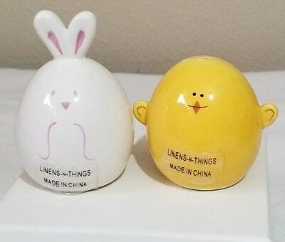 "Used, Bunny Chick Salt & Pepper 2"" Linens & Things Chicken Peter Rabbit Funny Farm     for sale  Mount Vernon"