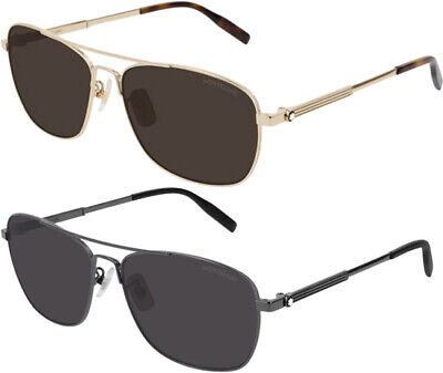 Mont Blanc Men's Classic Brow Bar Navigator Sunglasses - (Mont Blanc Sunglasses Mens)