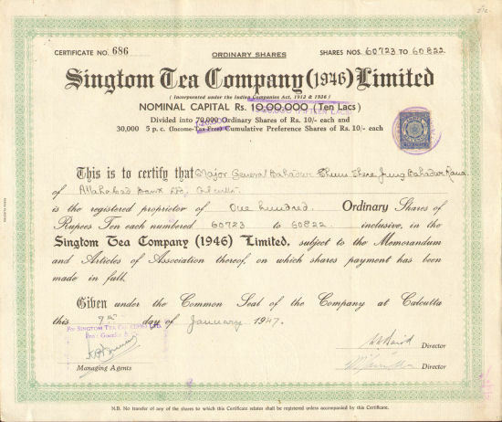 Singtom Tea Company > 1947 Calcutta India stock certificate rupees Major Bahadur