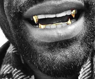 14K Gold GP Upper Top Single Fangs & Bottom Lower Teeth Half Fang Grillz 3pc - Fangs Gold Teeth