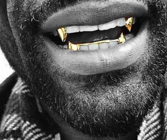 14K Gold GP Upper Top Single Fangs & Bottom Lower Teeth Half