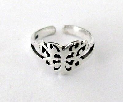 Sterling Silver cut out Butterfly adjustable toe ring