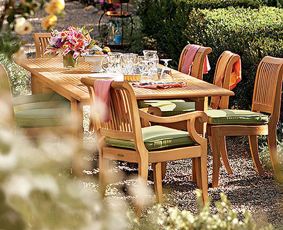 "9-piece Outdoor Teak Dining Set: 83"" Rectangle Table, 8 Arm/armless Chairs Giva"